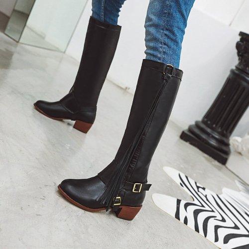 Women Block Heel Tassel Casual Pu Boots