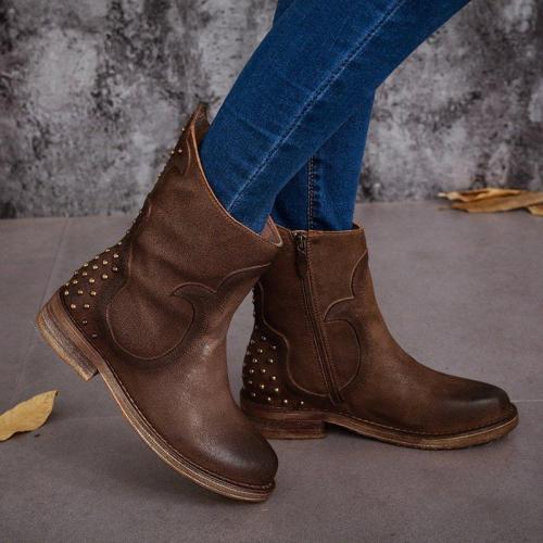 Rivet Artificial Leather Low Heel Zipper Casual Boots