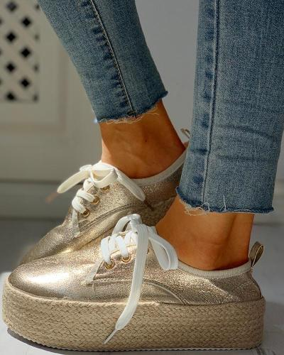 Solid Eyelet Lace-Up Muffin Espadrille Casual Sneakers