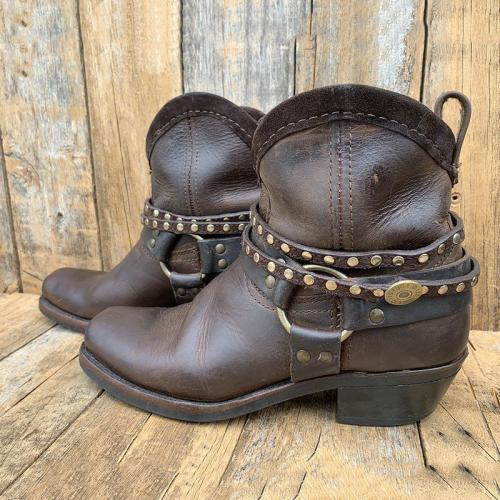 Women Slide Round Toe Ankle Boots All Season Pu Rivet Shoes