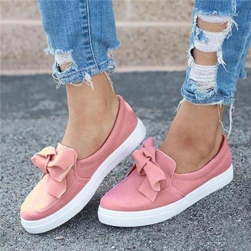 Women's shoes Pink Sneakers Butterfly-knot Loafers slip-ons Light Weight White Sneakers Woman Ladies Casual Shoes