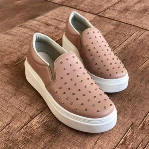 Woman Platform Rivet All Season Slip-on Loafers Sneakers