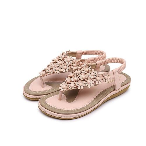 Shoes woman 2019 new fashion flower design beach sandals women solid color clip toe women shoes zapatos de mujer women plus size