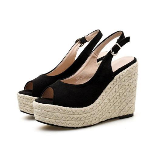Black Summer Buckle Holiday Wedge Heel Artificial Suede Sandals
