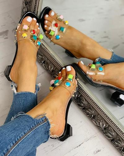 Rivet Transparent Chunky Heeled Sandals