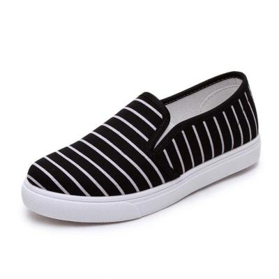 Slip-on Stripe Canvas Women Flat Loafers