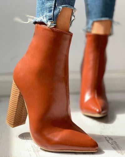 Solid Pu Zipped Chunky Heeled Boots