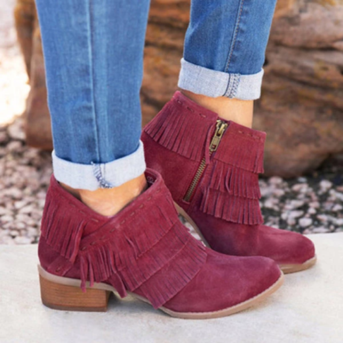 Women Short Tassel Ankle Boots Side Zipper Shoes