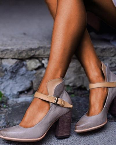 chunky heel pointed belt buckle High-heeled