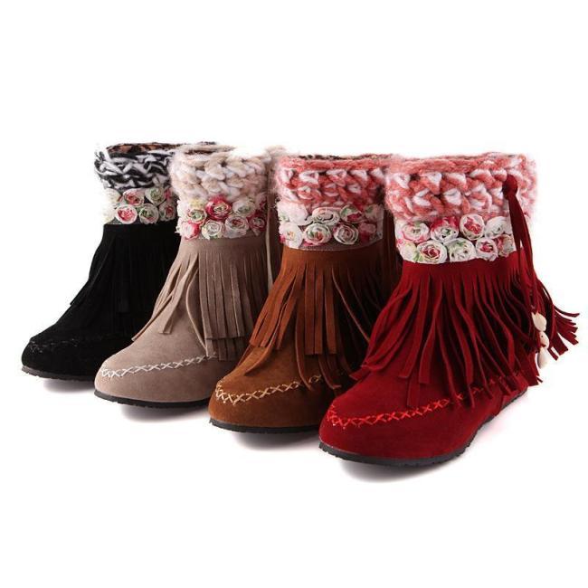 Women Flower Tassel Short Boots Plus Size Autumn and Winter Shoes 4719
