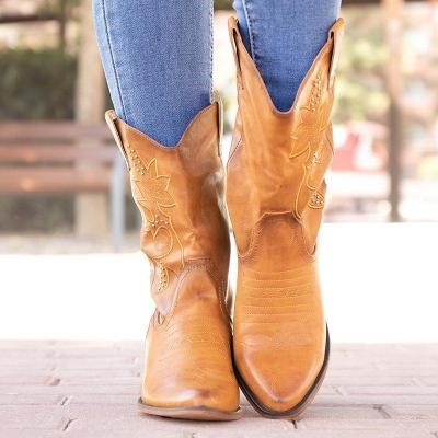 Vintage Pointed Toe Block Heel Slip-On Mid-Calf Boots