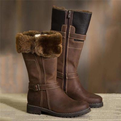 Women Casual Comfy Zipper Mid-Calf Warm Boots