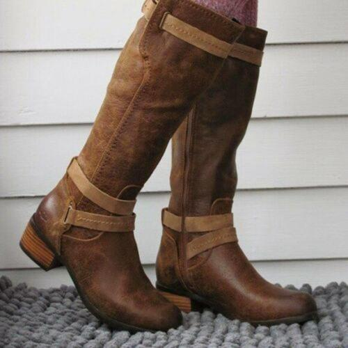 Chestnut Buckle Artificial Leather Zipper Boots