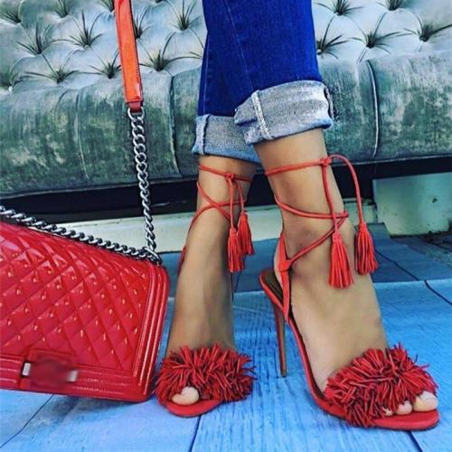 Fashion Tassel High Heel Sandals Cross Strap Stiletto