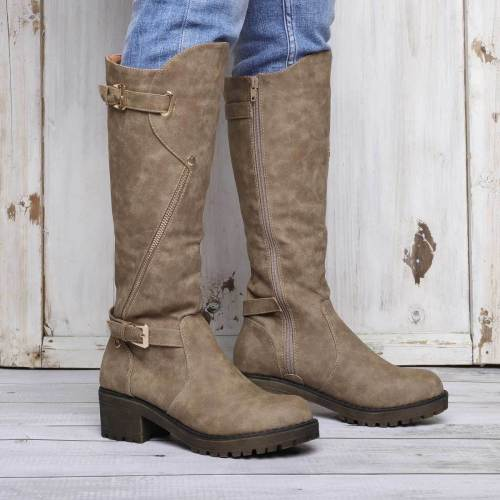 Women Chunky Heel Boots Casual Zipper Knight Boots