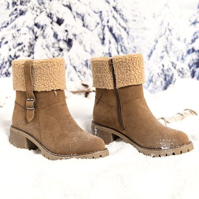 Gray Synthetic Fibre Winter Chunky Heel Boots