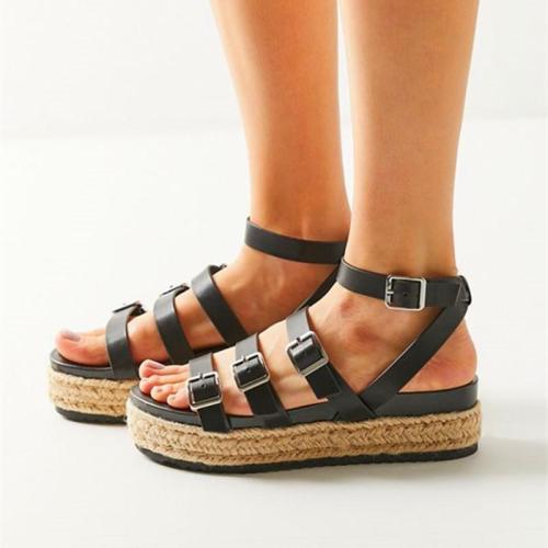 Sandalias De Las Mujeres De La PU De Las Enredaderas Zapatos Casuales De La Parte Posterior De La Correa Peep Toe