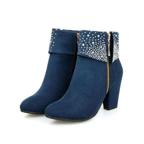 Rhinestone High Heels Short Boots Plus Size Women Shoes 7924