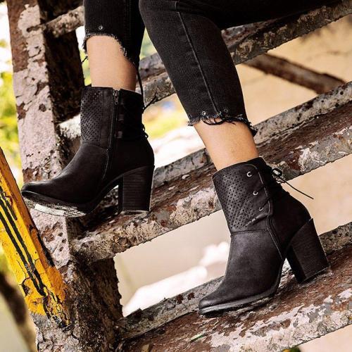 Women Chunky Heel Round Toe Boots