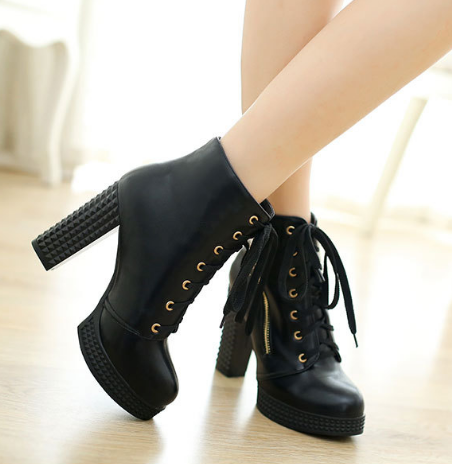Lace Up High Heeled Short Boots Plus Size Women Shoes 3164