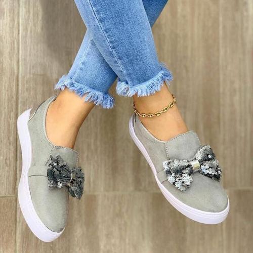 Glitter Bowknot Slip On All Season Loafers