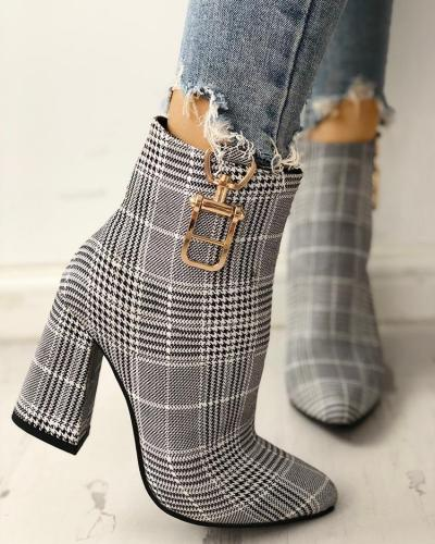 Houndstooth Print Metallic Decorated Chunky Boots