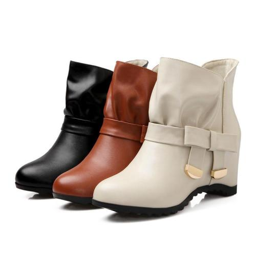 Women's Knot Ankle Boots Wedge Heels Shoes Autumn and Winter 6495