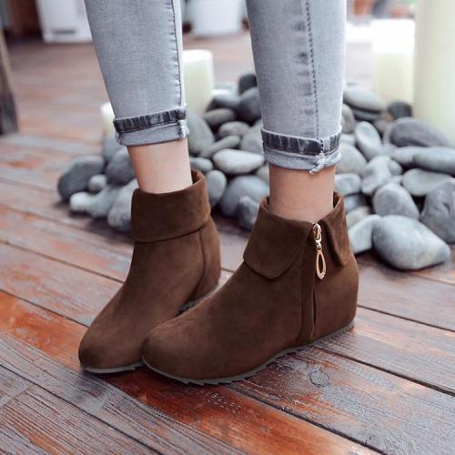 Zip Wedge Short Boots Plus Size Women Shoes 4205