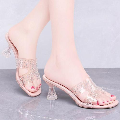 Chic Rhinestone PVC Transparent Special Heel Slide Sandals