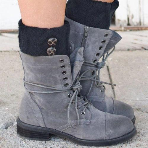 Light Gray Low (<3Cm) Flat Heel Boots