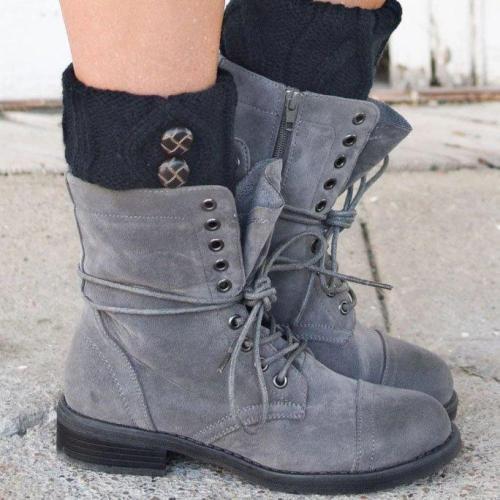 Light Gray Low (<3Cm) Flat Heel Boots