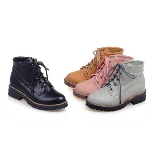 Women's Motorcycle Boots Autumn Winter Low Heel Lace Up Round Head Ankle Boots