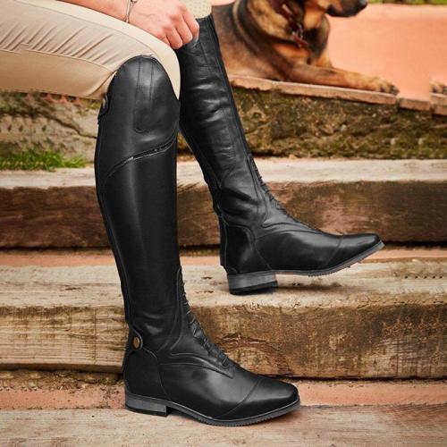 Leather Low Heel Knee Boots
