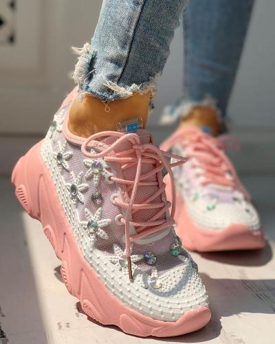 Colorblock Mesh Diamante Trim Lace-Up Sneakers