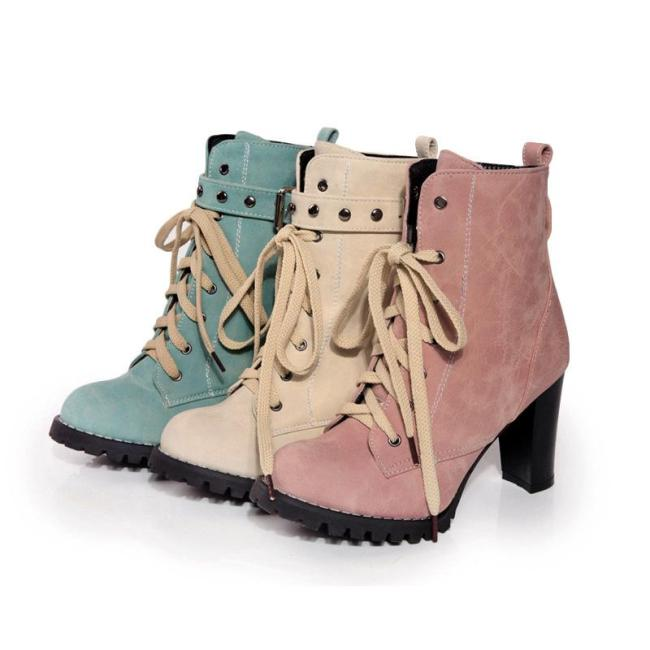 Lace Up High Heels Short Motorcycle Boots Plus Size Women Shoes 6690