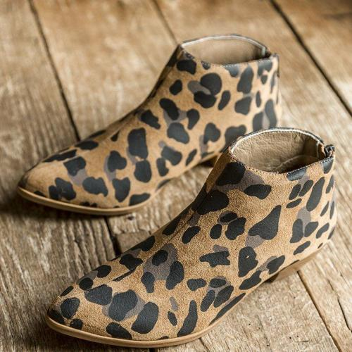 Leopard Printed Pointed Toe Back Zipper Chunky Heel Boots