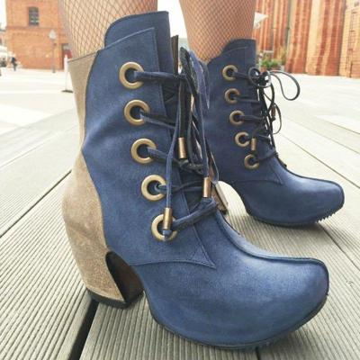 Women Round Toe Vintage Pu Casual Fall Lace-Up Ankle Boots