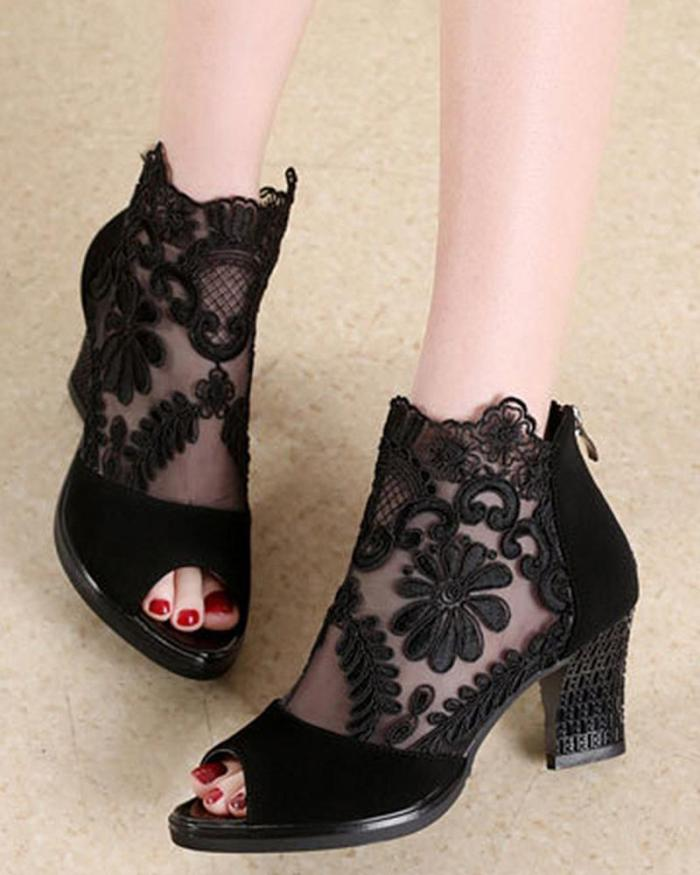 Mesh Lace Fish Mouth Chunky Heeled Shoes