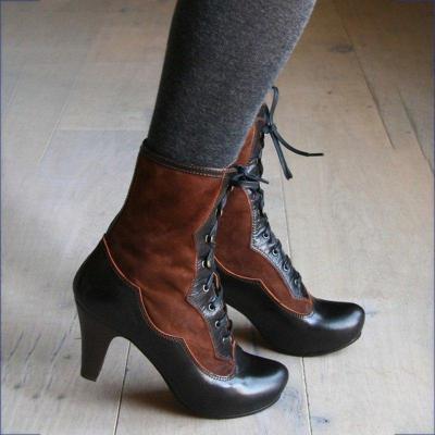 Women Round Toe Stiletto Heel Pu Lace-Up Winter Boots