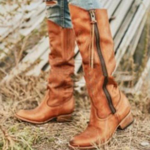 Vintage Side Zipper Chunky Heel Knee Boots