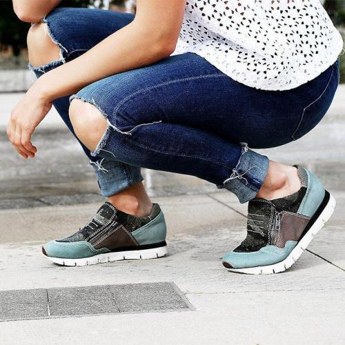 Women Slide Round Toe Casual All Season Zipper Sneakers
