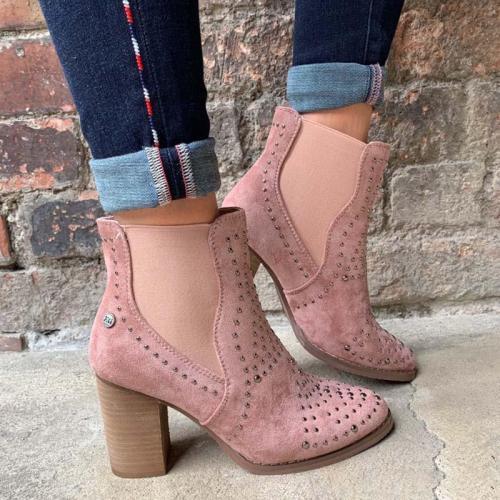 Women Slide Round Toe Casual Rivet Pu Chunky Heel Boots