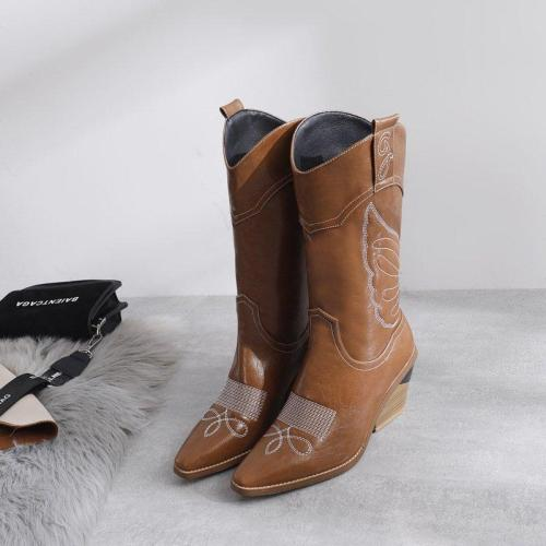 Vintage Pu Embroidery Chunky Heel Long Boots