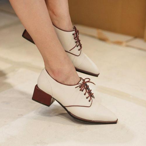Fashion Brief Square Toe Plain Lace-Up Casual Shoes
