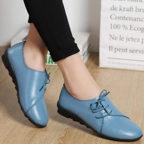New Genuine Leather Flat Shoes Women Soft Bottom Oxford Pointe Shoes White Sapato Feminino Loafers Casual Women Flats