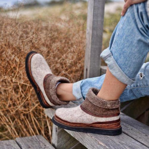 Women Winter Slip-On Woolen Ankle Boots