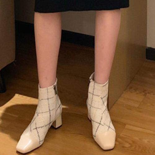 Zipper Chunky Heel Genuine Leather Boots
