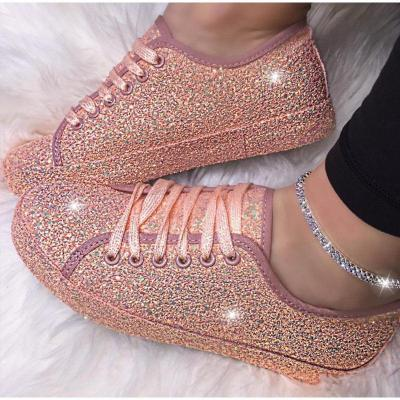 Women Bling Flat Shoes Woman Spring New Casual Flat Ladies Vulcanized Shoes Female Beathable Lace Up Fashion Casual Shoes 2020