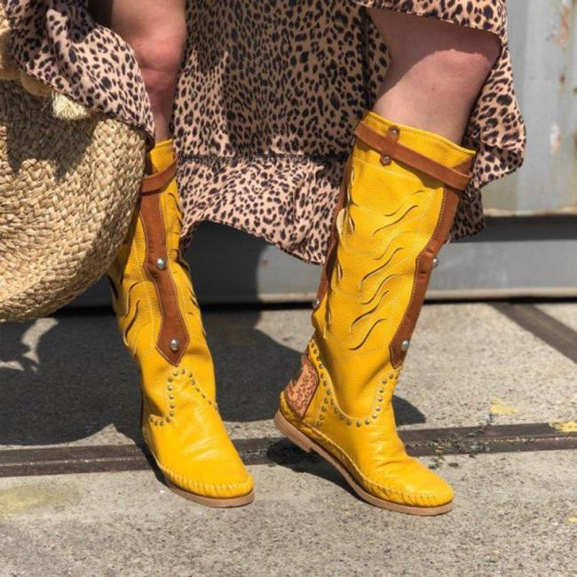 Plus Size Leather Boho Flat Heel Wide Calf Mid Boots