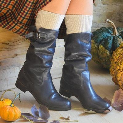 Vintage Adjustable Buckle Round Toe Mid-Calf Boots Plus SIzes